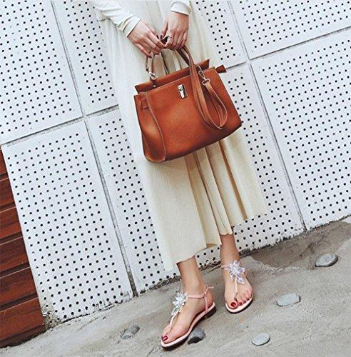 Luxus handgemachte Strass Damen Sandalen Klippzehe und weise bequeme Damenschuhe Pink