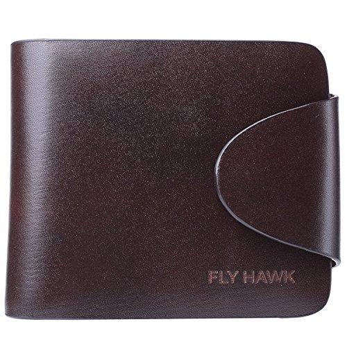 FlyHawk Herren Leder Geldbörse Portemonnaie Börse Brieftasche Querformat Natur Leder mit RFID Schutz, Dunkel Koffee