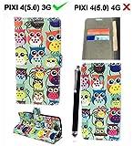 Alcatel Onetouch Pixi 4 5010D (5,0 Zoll) (3G) Hülle , [ Owl Book ] Kunstleder Tasche PU Schutzhülle Tasche Leder Brieftasche Hülle Case Cover + Gratis Universal Eingabestift