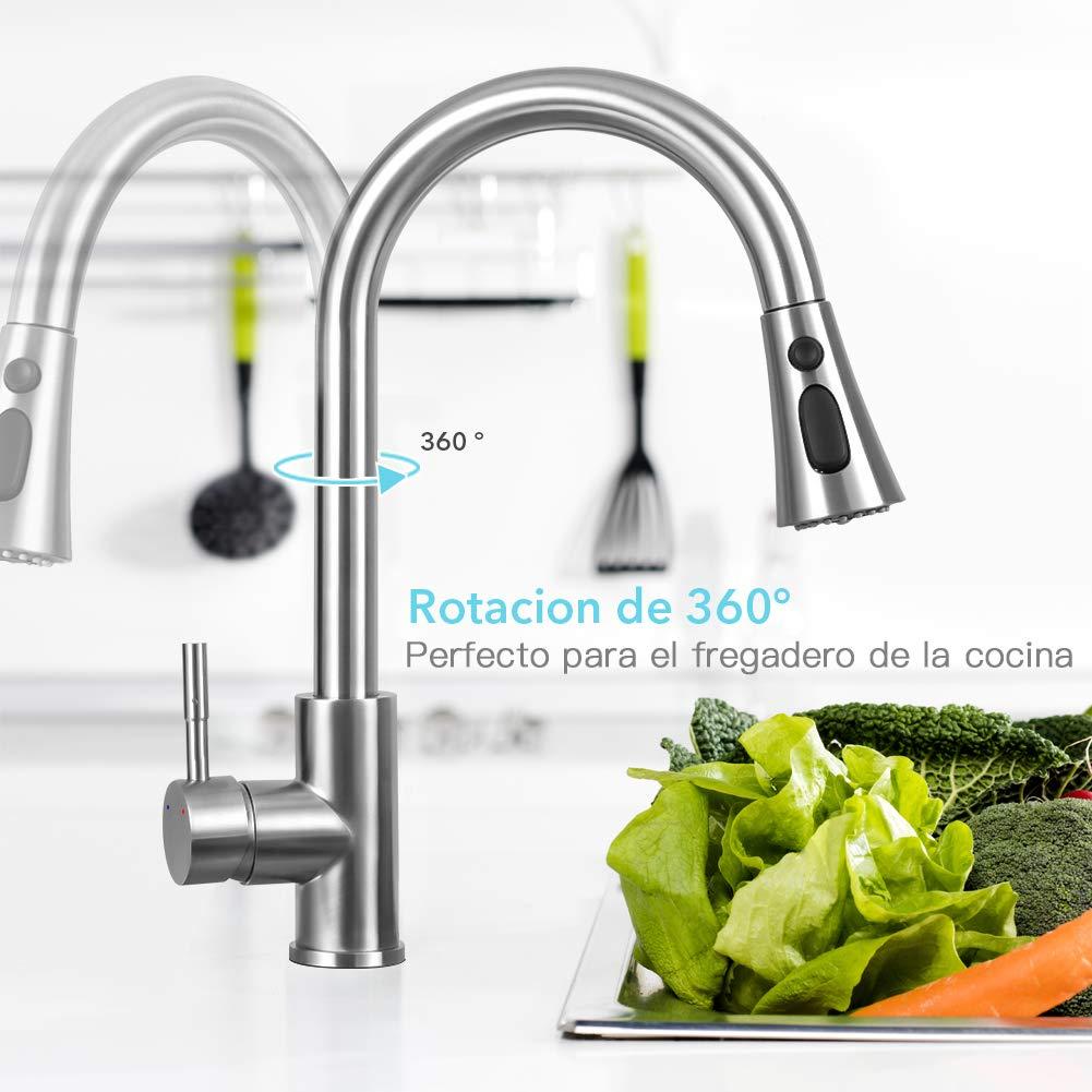 Giratorio de 360 grados Grifos Cocina extensible de 3 V/ías para Ahorro de Agua Acero Inoxidable Grifos para fregadero con Control de Agua Fr/ía y Caliente ZREE Grifo Cocina Extraible