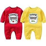 """Culbutomind Tutina per neonati con scritta """"Yummz Pomodoro Ketchup"""", mostarda, rosso, giallo, completo bimbi e bimbe, vestiti"""