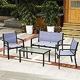 iKayaa 4 Piezas Conjunto de Muebles de Marco de Acero Set de Sofá para Jardín Patio Color Azul Oscuro