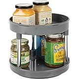 mDesign Lazy Susan plateau tournant en plastique à 2 étages pour épices, aliments, etc. – accessoire de rangement cuisine pou