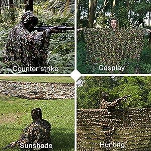 Ghillie Camouflage 3D Poncho Chasse Enfant Tenue Filet Militaire Suit