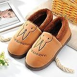 Y-Hui Kinder Schuhe Winter Indoor Hausschuhe Männlich Weiblich Baumwolle in der Wohnungseinrichtung Liebhaber Paket mit dick Rutschfeste Unterseite warme Schuhe, 42-43 (Fit für 41-42 Fuß), Kaffee (Hase)