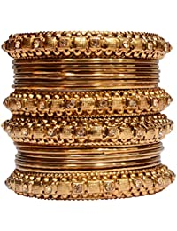 Mansiyaorange Traditional Fancy Designer Party Wedding Wear Original Hand Work Antique Golden Bangle Set For Women - B079FX842V