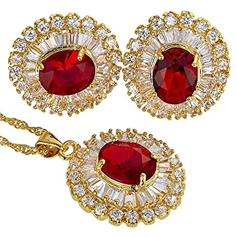 Rizilia Jewellery 18K Yellow Gold Plated Oval Cut Prong Setting Stone Red Ruby Color Gemstone Slide Pendant Curb Chain Necklace With (Length 46cm/18inch ) Stud Earrings Jewelry Set[Free Jewelry