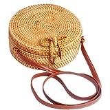 Ulisty Rund Rattan Tasche Kreis Strohbeutel Handgefertigte Tasche Weben Korb Handgewebte Tasche Sommer-Strandtasche Schultert