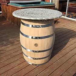 Gran mesa de patio, roble macizo barril de vino Metal Top