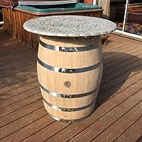 Con portabottiglie in rovere massiccio, corpo in metallo, copertura per tavolo da veranda