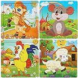 BelleStyle Puzzle di Legno, 20 Pezzi Animali da Puzzle in Legno per 3 Anni i Bambini Educazione Apprendimento Giocattoli Set di 4 (B)