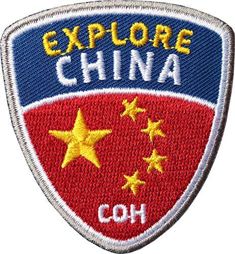 Club of Heroes 2 x China Abzeichen 55 x 60 mm gestickt/Explore China Aufnäher Aufbügler Sticker Wappen Patches für Kleidung Rucksack/Reiseführer Abenteuer Flagge Fahne Land