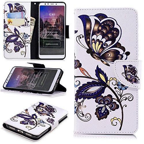 Ooboom Xiaomi Redmi 5 Plus Hülle Magnetisch Flip PU Leder Schutzhülle Handy Tasche Case Cover Kartenfächer Kartenfach für Xiaomi Redmi 5 Plus - Schmetterling Blume