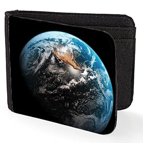 Preisvergleich Produktbild Weltraum 10175, Erde, Schwarz Designer Unisex Geldbörse Kreditkarte Holder Geldbeutel mit beidseitig Farbig Design.