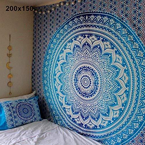 gfjhgkyu Mandala Bohemio Estera de Yoga Manta de Playa Manta Manta India Tapiz Colgante Blue 200x150cm