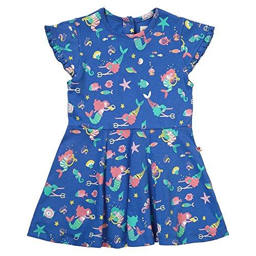 Piccalilly Blue Girls Skater Dress Organic Cotton Jersey Mermaid Design