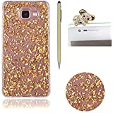 Bling Paillette Coque Pour Samsung Galaxy A3 2016 / A310, SKYXD Transparente Shine Bling Glitter Coque Ultra Slim Crystal Premium Housse Étui Soft Silicone TPU Bling Strass Protection Coque Pour Samsung Galaxy A3 2016 / A310-- Or Feuille D'or