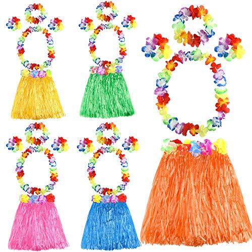 FEPITO 5 Set 25 Stück Hawaiian Gras Hula Sets enthalten Blume Leis Halskette Stirnband Armbänder Luau Rcke für Kinder Hawaii Kostüm Tropical Luau Birthday Party ()