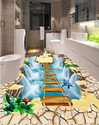 Vlies Tapete Wandbilder The Stereo Cliff Suspended Island Falls Bridge Wooden Ladder Dolphin Mall Walkway 3D Floor Paint