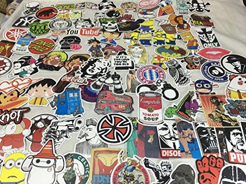 ZERUU Random Sticker (Packung mit 50 100 200 500 Stück) Fußball Skateboard Snowboardfahren Musik Film Laptop Gepäck Auto Fahrrad Fahrrad Decals Mix Alot Fashion Cool (100)