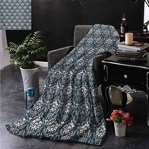 """Zsuo Fell-Überwurfdecke Nostalgie Themenkomposition mit Barockblüten und handschriftlichem Hintergrund für Bett & Couch Sofa, pflegeleicht 50\""""x70\"""" Inch Farbe06"""