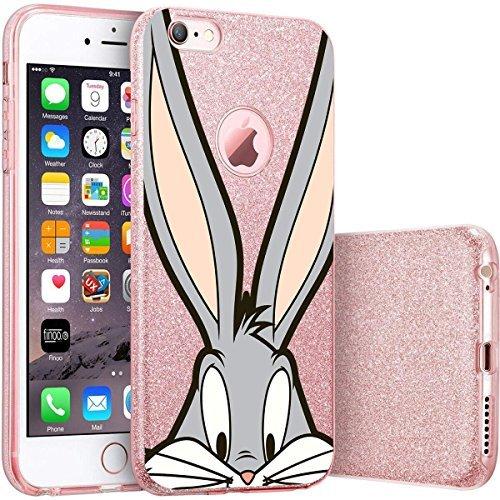 finoo | iPhone 6 Plus / 6S Plus Pinke bedruckte Rundum 3 in 1 Glitzer Bling Bling Handy-Hülle | Silikon Schutz-hülle + Glitzer + PP Hülle | Weicher TPU Bumper Case Cover | Queen Black Bugs Close Up 2