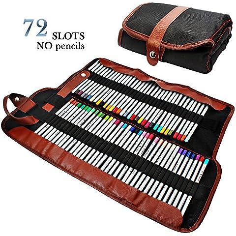 Estuche para lápices AFUNTA, organizador para 72 lápices, enrollable de lona lavable lápiz bolsa de Oficina Escuela de Arte etc. Lápices no
