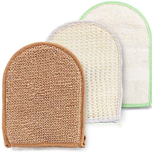 Thermalabs Lot de 3 gants exfoliants/de gommage pour enlever les peaux mortes et rendre le corps doux avec 1 en loofa/bambou épais/1 en sisal moyen/1 en jute épais à utiliser pour le dos/cou/visage