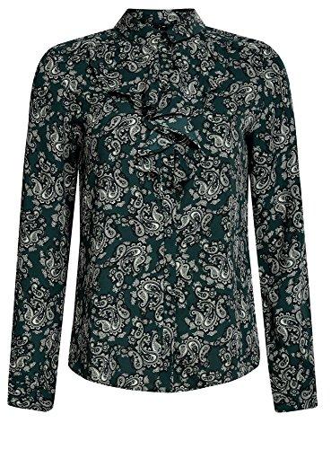 oodji Collection Femme Blouse en Tissu Fluide à Volants Vert (6912E)