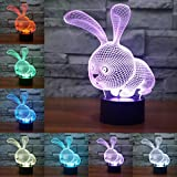 3D Illusione Ottica Led Lampada di Illuminazione Luce Notturna, LSMY Coniglio Lampada da Tavolo 7 Colori con Acrilico Caricatore USB per Comodino Bambini Cameretta Casa Festa Decorazione
