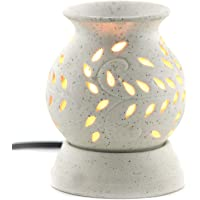 Urban hub Ancient Matki Shape Electric Ceramic Aroma Oil Diffuser with Bulb, 12 cm (White)