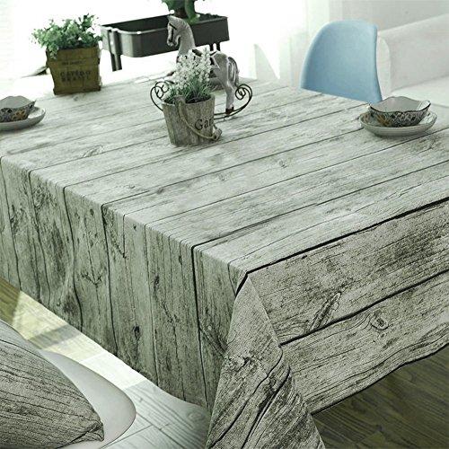 YTAT Mantel de madera de grano de madera Algodón y lino Mantel...