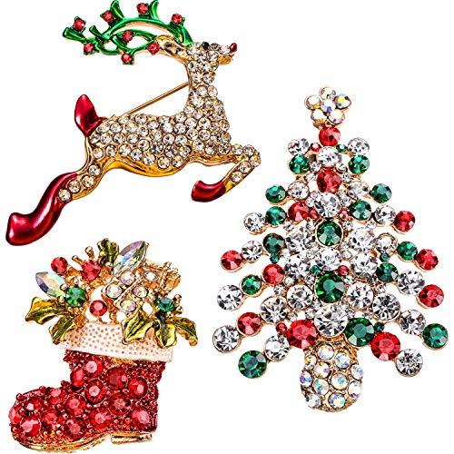 Broche de Cristal Diamantes de Imitación, Pasadores Broche de Moda Elegante para Celebración de Fiesta, 3 Piezas (Ciervos, Botas y Árbol)