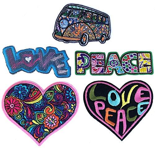 i-Patch - Patches - 0158 - Applikationen - Stickerei - Love - Peace - Herz - zum aufbügeln - Aufnäher - Bus - Aufbügler - Hippie - Flower- Power - Frieden - Liebe - Flicken - Bügelbild - Badges