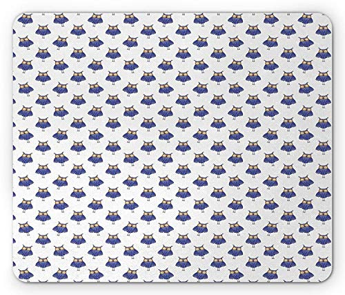 Whecom Owl Gaming Mauspad, Forest Creature with Stars Pattern on Polka Dotted Greyscale Background, Standard Size Rectangle Non-Slip Rubber Mousepad, Indigo Lavender Pale Grey 9.8 X 11.8 INCH -