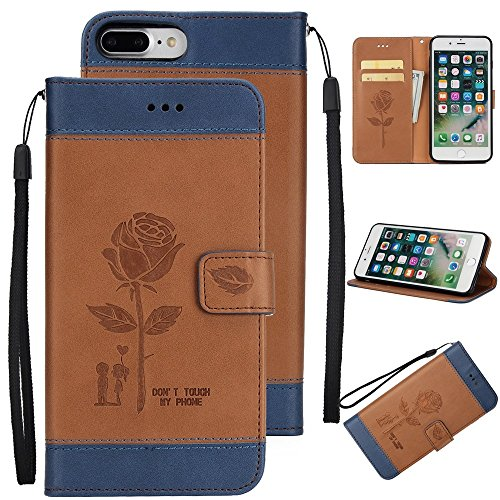 JIALUN-Telefon Fall Mit Card Slot, Lanyard, geprägte Mode Open Handy Shell für IPhone 7 Plus / 8 Plus ( Color : Purple ) Brown