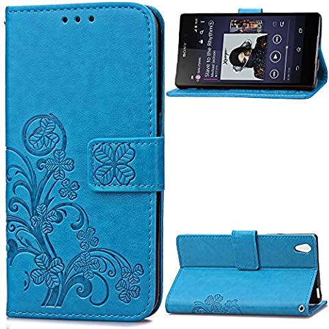 Sony Xperia Z2 Case Leather, Ecoway Clover embossed Patterned PU Leather Stand Function Protective Cases Covers with Card Slot Holder Wallet Book Design Folio Magnetic Flip Stand Feature for Sony Xperia Z2 - Four Leaf Clover(blue)