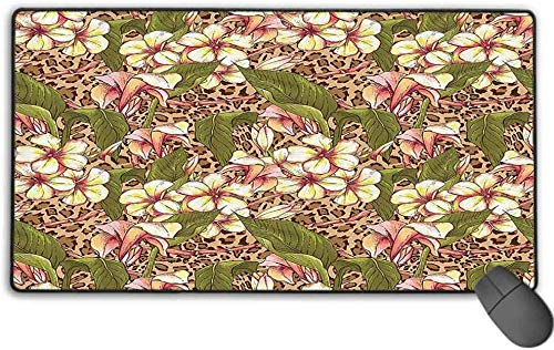 Extended Mousepad, Non-Slip Rubber Base Mousepad with Stitched Edge, Hawaiian Decorations Collection - Exotic Flowers Blooms Summertime Getaway Dream Vacation Enjoyment Fun - 15.7' x 29.5' inch