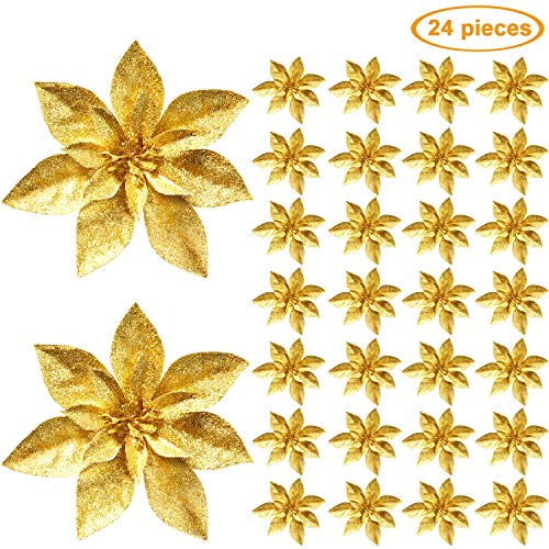Gejoy 24 pezzi fiori di natale glitterati artificiali poinsettia fiori decorativi accessori floreali per ornamento dell'albero di natale e decorazioni per la casa (oro)