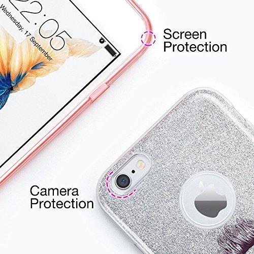 Custodia iPhone 6 Plus , Vanki® Luminosa Elastica e Morbida TPU Brillantini Bling Shock-Absorption Anti-Scratch Bumper Cover Case per iPhone 6s Plus G