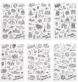 NOVAGO® 6 planches de stickers autocollants Tour du Monde pour décorer vos smartphones, tablettes , PC, MacBook , agenda , mug ou autres objets