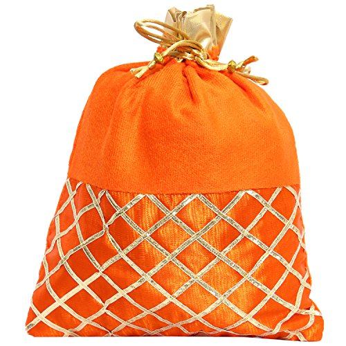 Bagaholics Ethnic Clutch Silk Potli Batwa Pouch Bag with Metal Beadwork (Orange)  available at amazon for Rs.165