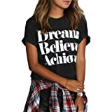 FV RELAY Womens Black Cropped Sleeve Printed Tee Casual Teen Girls Tops T Shirts