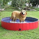 FEMOR Bañera Plegable de Mascotas Baño Portátil para Animales Piscina para Perros y Gatos Adecuado para Interior Exterior al Aire Libre Color Rojo (L/160 x 30cm)