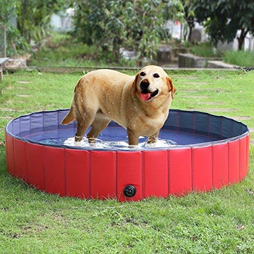 FEMOR Bañera Plegable de Mascotas Baño Portátil para Animales Piscina para Perros y Gatos Adecuado para Interior Exterior al Aire Libre Color Rojo (M/120 x 30cm)
