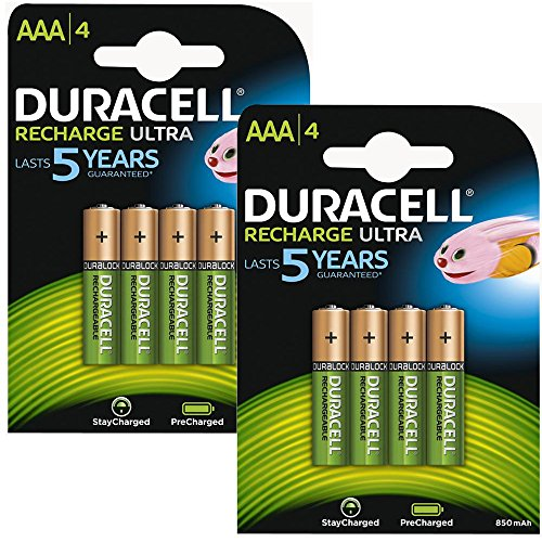 Duracell AAA HR03 Rechargeable Batteries Duralock Pre and Stay Charged 850mAh - Value 8 Pack -