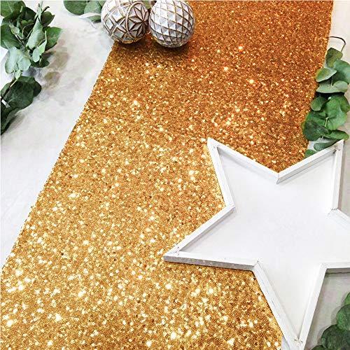 TtS Glitzer Tischläufer Pailletten 30x275cm Tischdecke Tischfahne Tischtuch Weihnachten Hochzeit Tischdekoration Shimmer, Sequin Champagne Gold