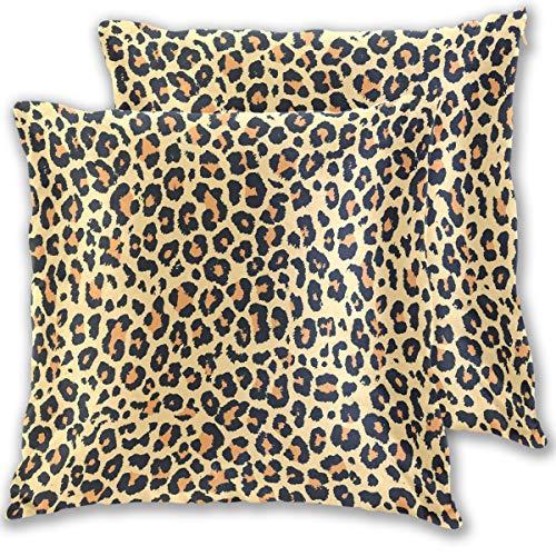 Leoparden-Design, dekorative Baumwollleinen, Kissenbezug, Kissenbezug, Kissenbezug, für Couch Sofa, Bett, 40,6 x 40,6 cm, 2 Stück, Baumwolle, Multi, 16x16 ()