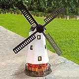 PopHMN Tuinornament windmolen, op zonne-energie automatische windmolen waterdicht met led-licht voor tuinornament