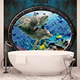 Fenster Delfine Korallen Ozean - Forwall - Fototapete - Tapete - Fotomural - Mural Wandbild - (3195WM) - XL - 208cm x 146cm - VLIES (EasyInstall) - 2 Pieces